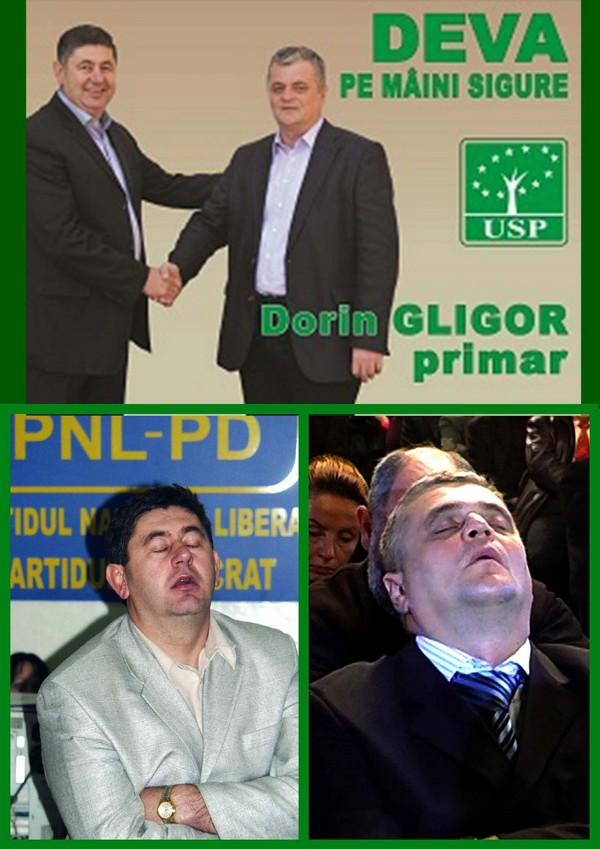 Mircia Muntean (USP) si Gligor Dorin (USP) prinsi intr-o ipostaza penibila dormind