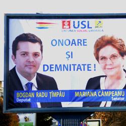 Mariana Campeanu si Bogdan Radu Timpau (USL) panou electoral ilegal